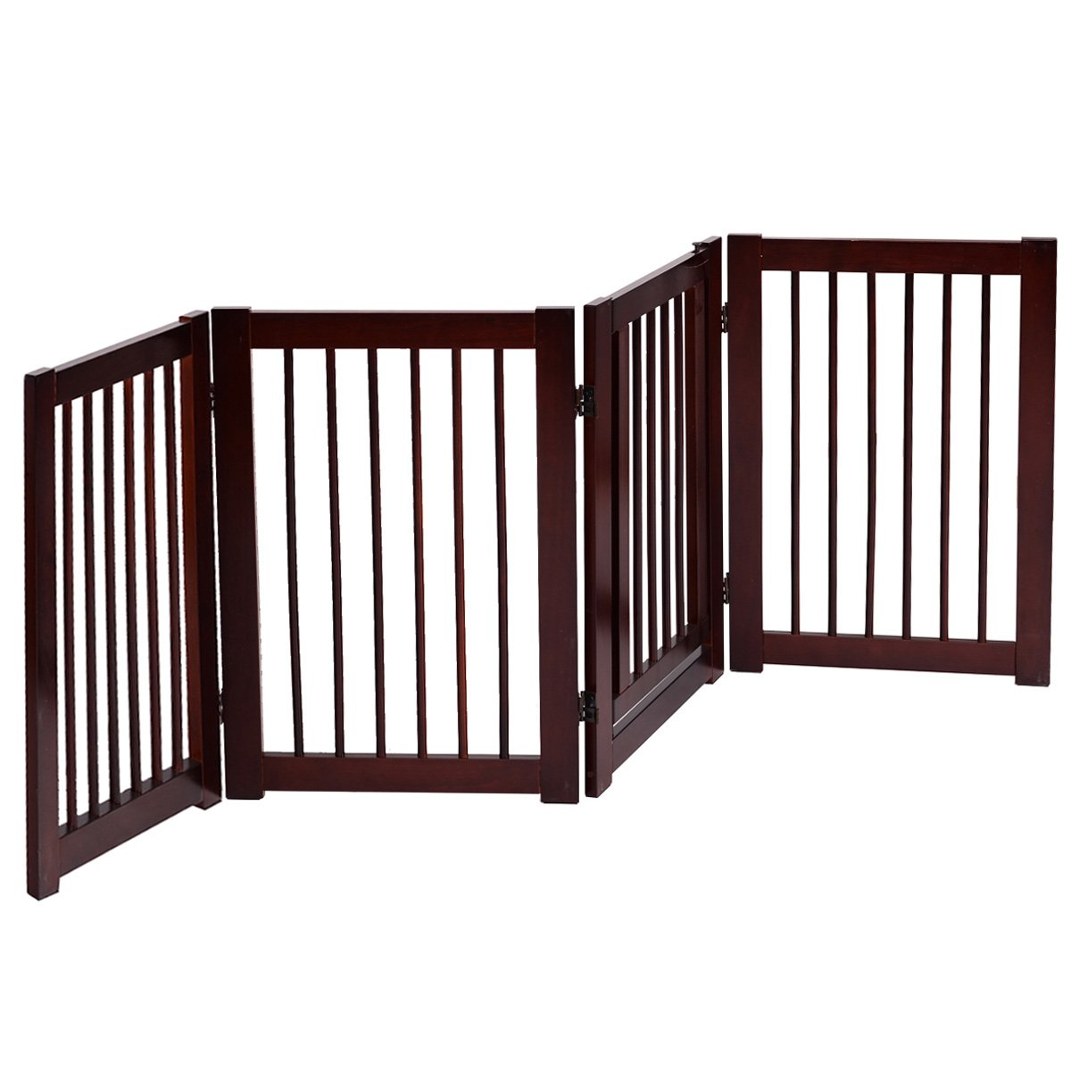 Giantex Pet Gate with Door Wooden Pet Playpen Adjustable Panel Safety Gate, Cerise Finish (30'')
