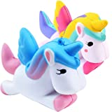 Aisikasi 2 PCS Unicorn Cute Squishies Slow Rising Soft Squishies Charms Fun Toys for Stress Relief and Time Killing