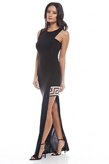 Amazon Com Ax Paris Women S Side Split Maxi Dress Black Clothing