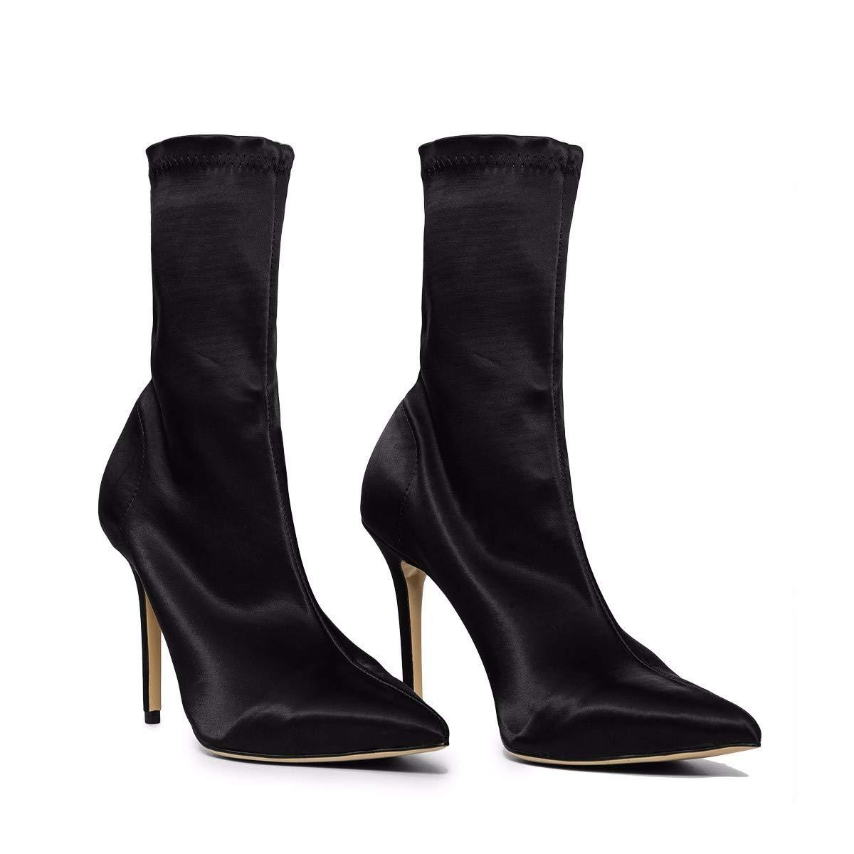 HBDLH Damenschuhe Sexy High Heeled Kurzen Spitzen Stiefeln, Frauen, Im Herbst und Winter Mode, Dünn Mit Socken Stiefel, Elastische Stiefel 9Cm