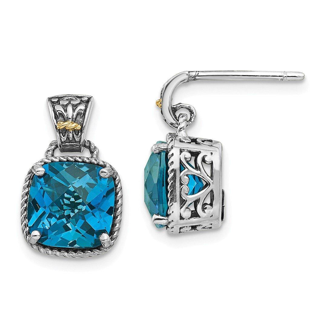 ICE CARATS 925 Sterling Silver 14k London Blue Topaz Post Stud Ball Button Earrings Fine Jewelry Gift Set For Women Heart