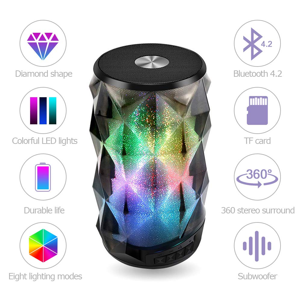 EIATBF LED Bluetooth Speaker, 8 Dimmable Modes Portable Wireless Speakers, Bedside Atmosphere Lights and Built-in Microphone, Best Gift for Kids, Teens and Adults.(Black) by EIATBF