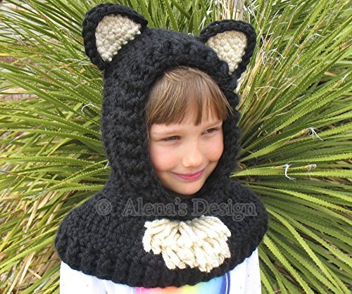 Hooded Cowl with Cat Ears - Crochet Hooded Cowl – Cat Cowl - Animals Hat - Winter Neck Warmer Handmade Toddler Children Teen Adult Made in USA