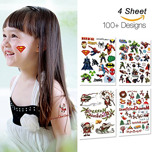 [Kotbs 4 Sheets Mix Large Temporary Tattoos Paper Christmas Super Hero Body Tattoo Sticker for Children Kids DIY Fake Tattoo] (Temporary Christmas Tattoos)