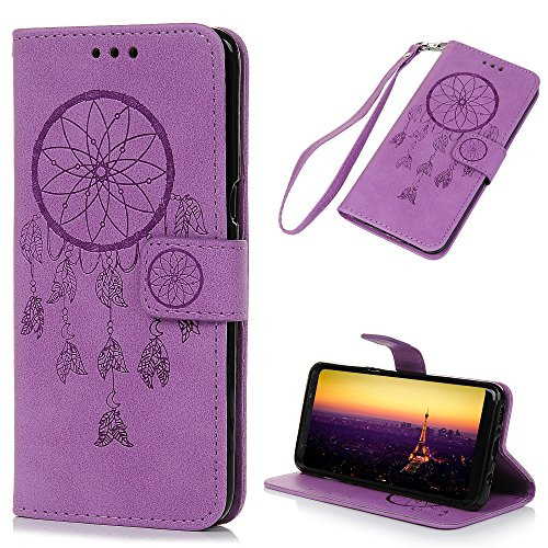 Galaxy S8 Case Wallet, KASOS Embossed Romantic Hollow Dream Catcher PU Leather Wallet Case with Kickstand TPU Inner Shell Card Holders & Hand Strap Magnetic Flip Cover for Samsung - Purple ()