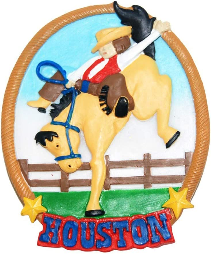 Houston City Cowboy Round Shaped Super Magnetic Poly Refrigerator Magnet