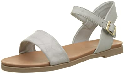 420fb8cf2cd New Look Women's Wide Fit-Gday Ankle Strap Sandals, Grey (Mid Grey 4 ...