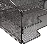 VANRA Metal Mesh Desktop File Sorter Organizer Desk Tray Organize with 3 Letter Trays and 2 Vertical Upright Sections