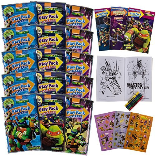 Set Of 15 Teenage Mutant Ninja Turtles Play Packs Fun Party Favors Coloring Book Crayons Stickers -