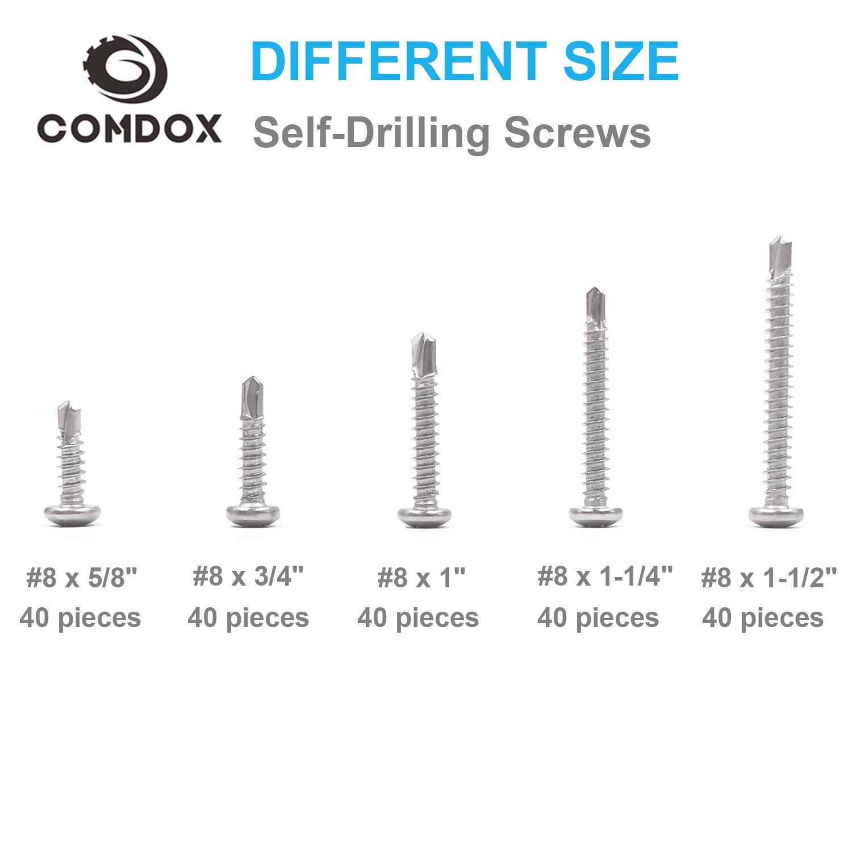 Modified Truss Head #8-18 Thread Size Comdox 410 Stainless Steel Self Drilling Screws Kit Set 5//8 to 1-1//2 Length Pan Head Phillips Sheet Metal Tek Screws Assortment Kit Pack of 200