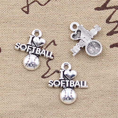 30pcs Charms I love softball 21x19mm Antique Making Vintage Tibetan Silver Zinc Alloy Pendant ()
