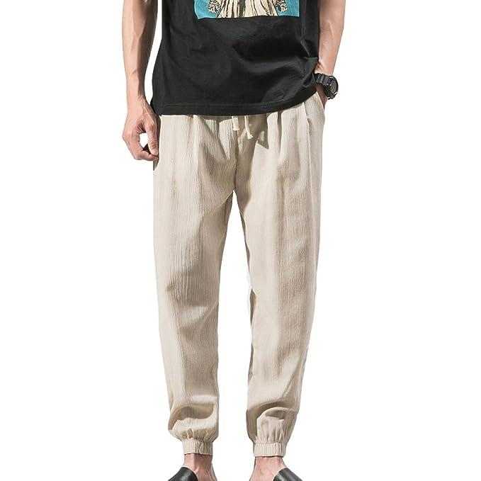 Pantalones de Lino para Hombre - Cómodo Loose Fit Pantalón de Cintura Elástica Moda Color Sólido