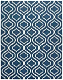 Stone & Beam Contemporary Hourglass Wool Rug, 8' x 11', Navy