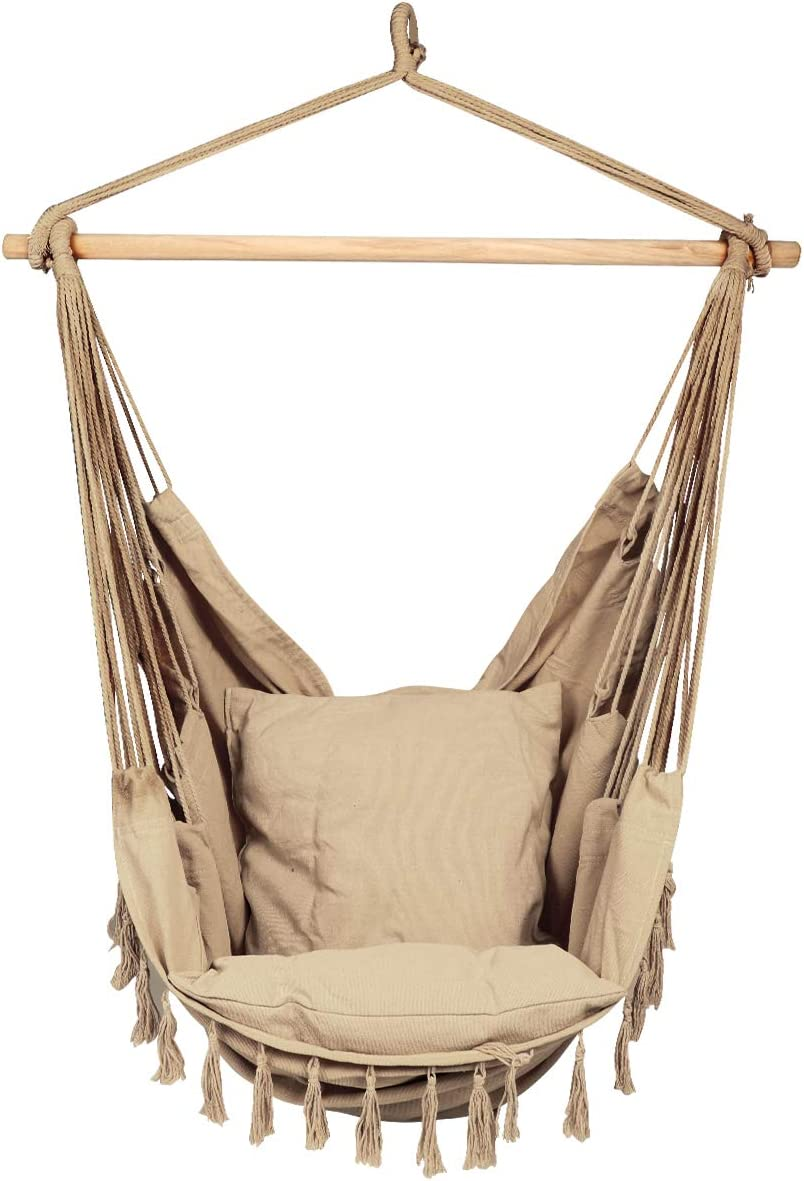 E EVERKING Hammock Chair, Hanging Rope Swing Seat for Indoor Outdoor, Soft Durable Cotton Canvas, 2 Cushions Included, Large Reading Chair with Pocket for Home, Bedroom, Patio, Porch C-Coffee