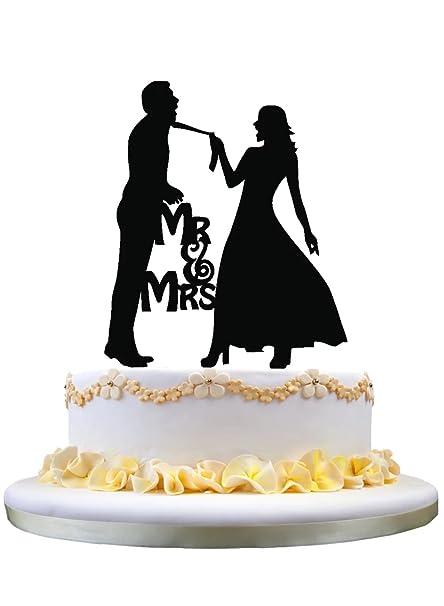 Amazon Com Zhongfei Funny Wedding Cake Topper Bride Dragging
