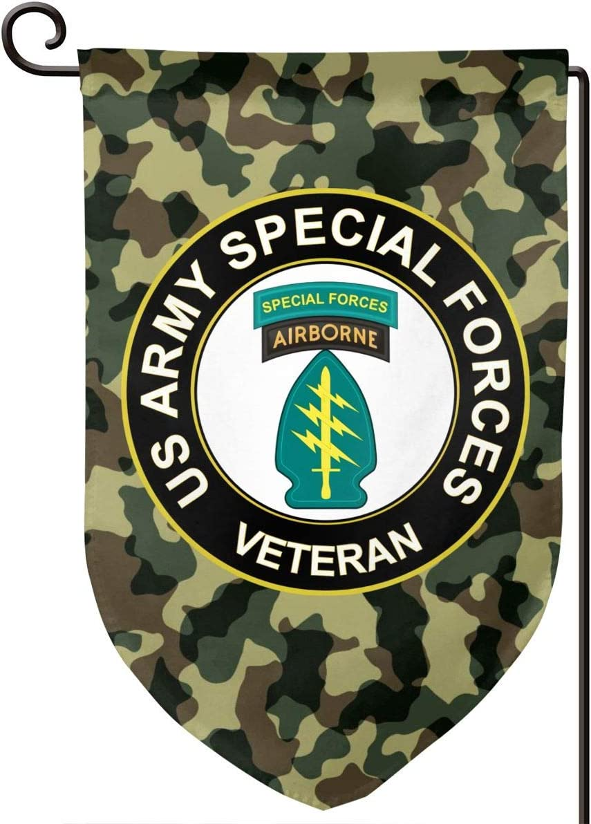 US Army Veteran Special Forces Logo Garden Flag Double Stitched Vertical Flag for Garden Decorative,Yard Decorative,Outdoor Decorative,Holiday Decor,Anniversary Decoration 12 X 18 Inch