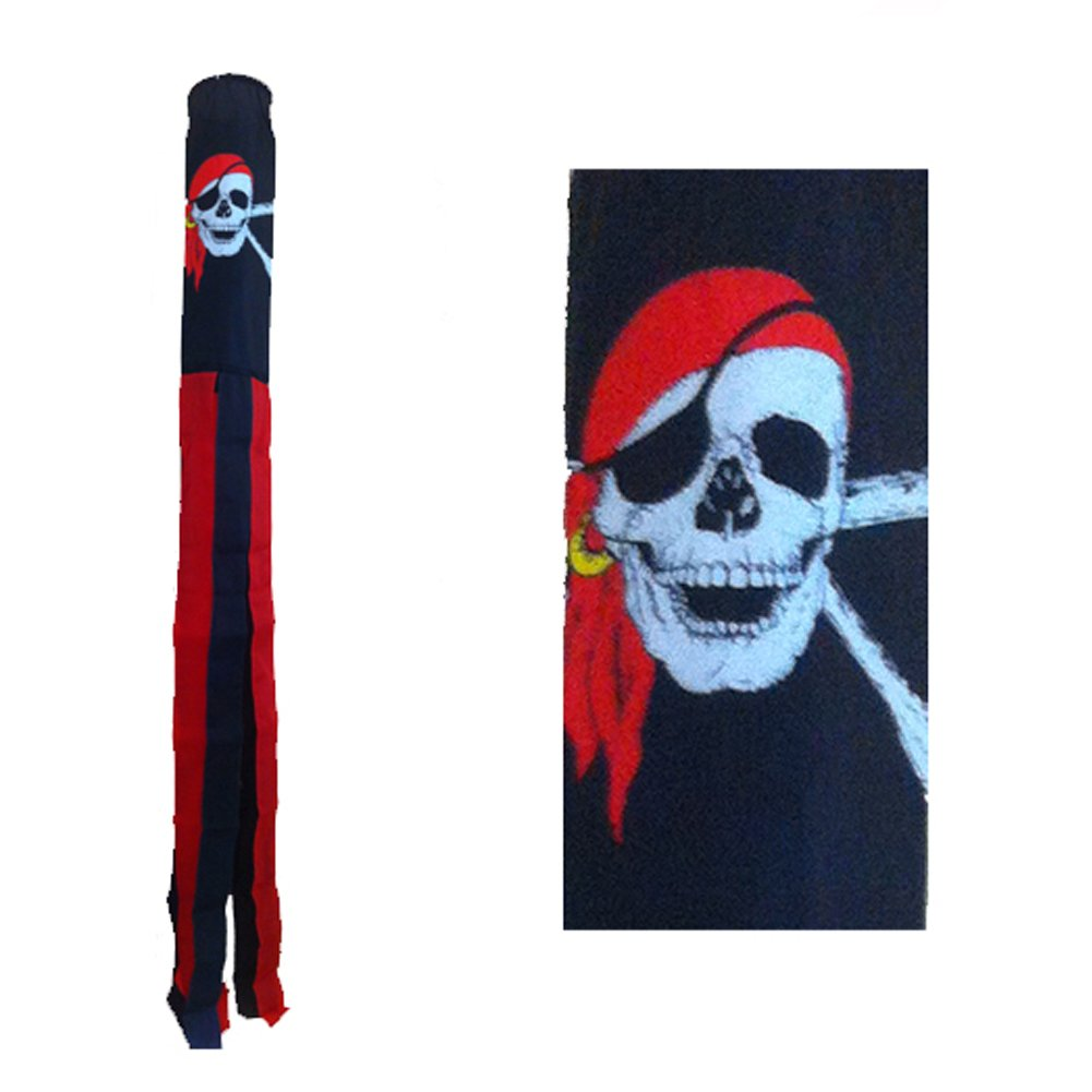 "60/"" Embroidered Jolly Roger Pirate Flag 100/% Polyester Wind Sock W//Grommets"