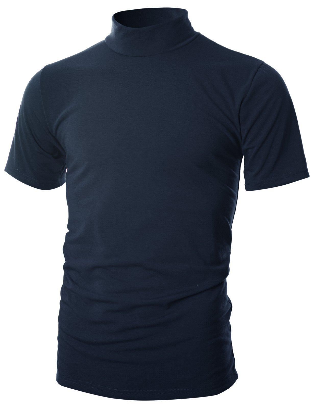 OHOO Mens Slim Fit Soft Cotton Short Sleeve Pullover Lightweight Mockneck with Warm Inside /DCT101-NAVY-S