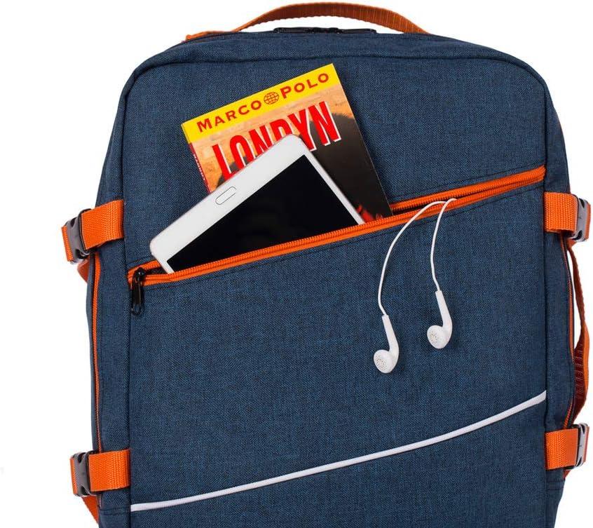 Bagage /à Main pour Ryanair Multifonctions Sac /à Dos Cabin Sac /à Dos Multifonctions Sac davion Sac /à Main Sac de Voyage /à Bretelles Taille 40x25x20cm Bleu Marine Orange 102