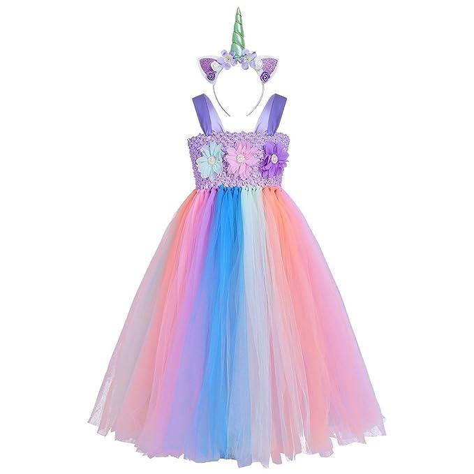 CHICTRY Vestido de Tutu Princesa Unicornio para Niña Disfraz Infantil Vestido de Flores con Argolla de
