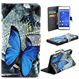 Tonsee Leather Magnetic Wallet Flip Case For Sony Xperia Z3 (Blue Butterfly)