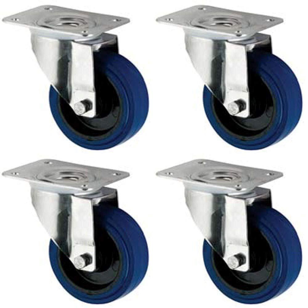 Coldene Castors Ltd - 125mm Blue Elastic Rubber Castor Wheels Pack - 4x Swivel