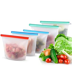 MOICO Reusable Silicone Food Storage Bag, 5 Pack Airtight Seal Reusable Freezer Bags Dishwasher Safe, Leakproof Silicone Bags Reusable for Liquid, Snack, Sandwich, Fruit, BPA Free, FDA Approved