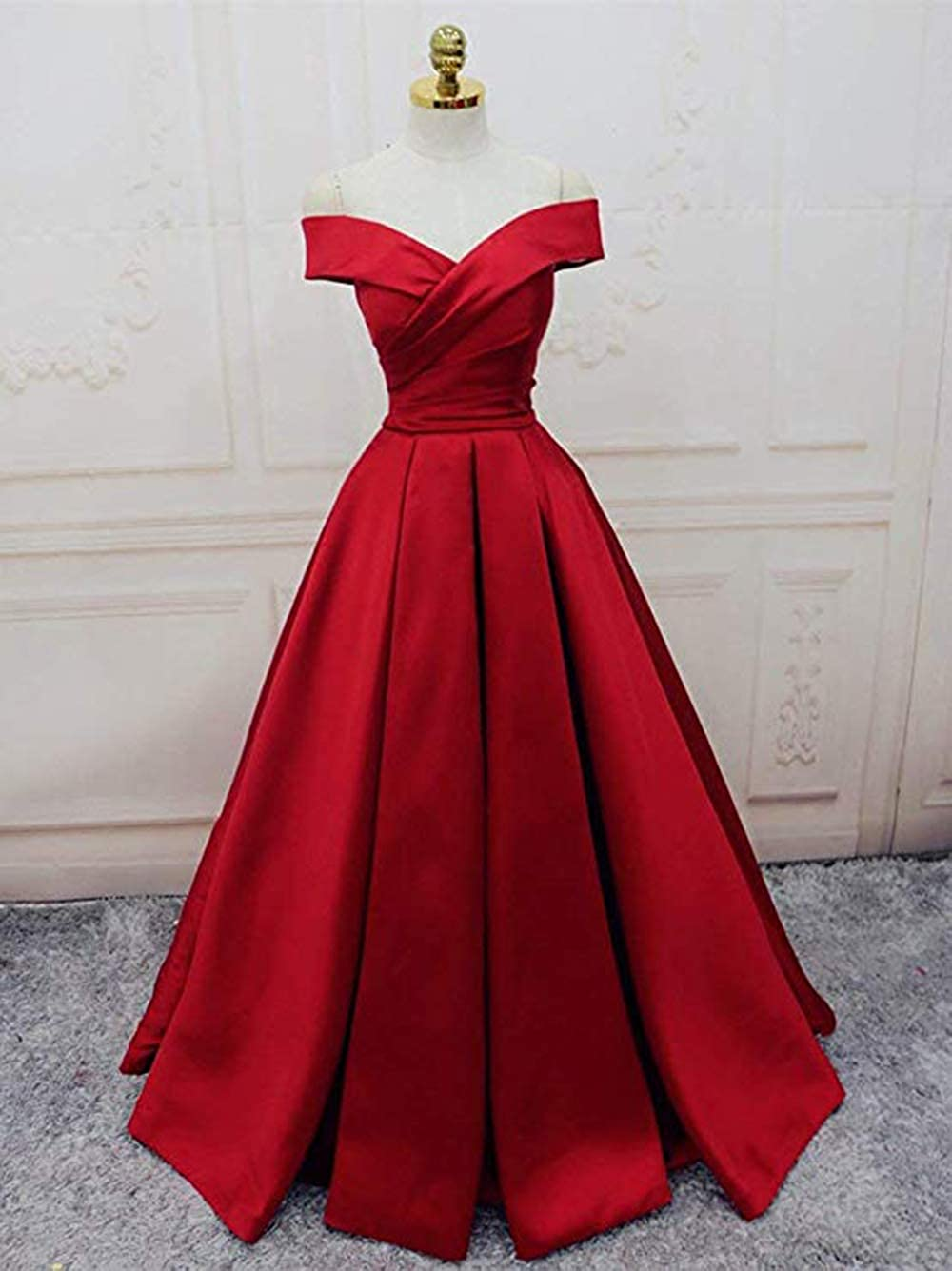 Ri Yun Womens Off The Shoulder Pleated Prom Dresses Long 2019 A-Line Satin Formal  Evening Ball Gowns with Pockets at Amazon Women s Clothing store  9ffcd6b89