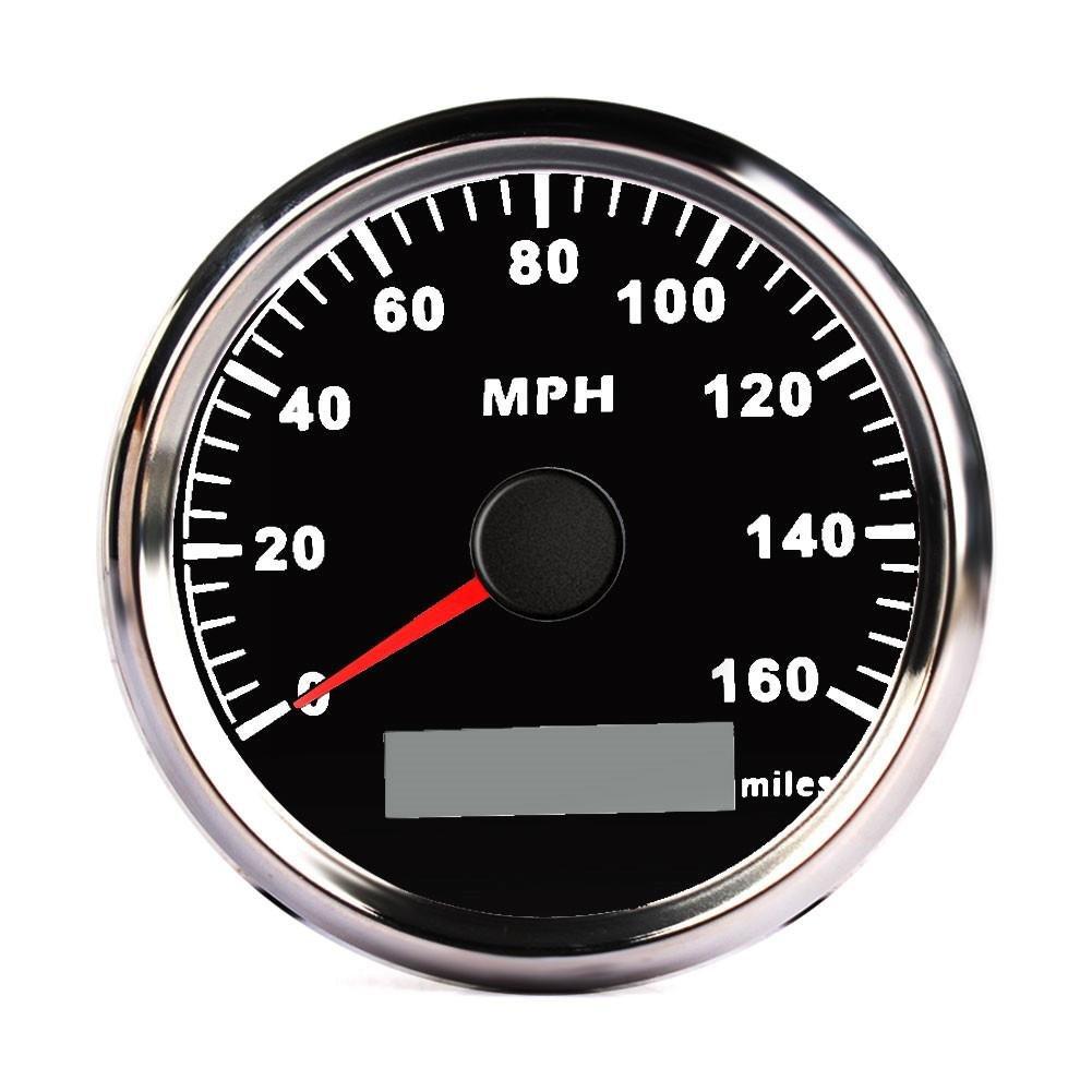 フェニックス85 mmデジタルステンレスGPS速度計のゲージの160 Mph車トラックボート ブラック PX644747953955 B07CBTPBC5  ブラック