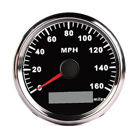 Calistouk - Velocímetro digital GPS de 85 mm para coche, camión, barco Negro