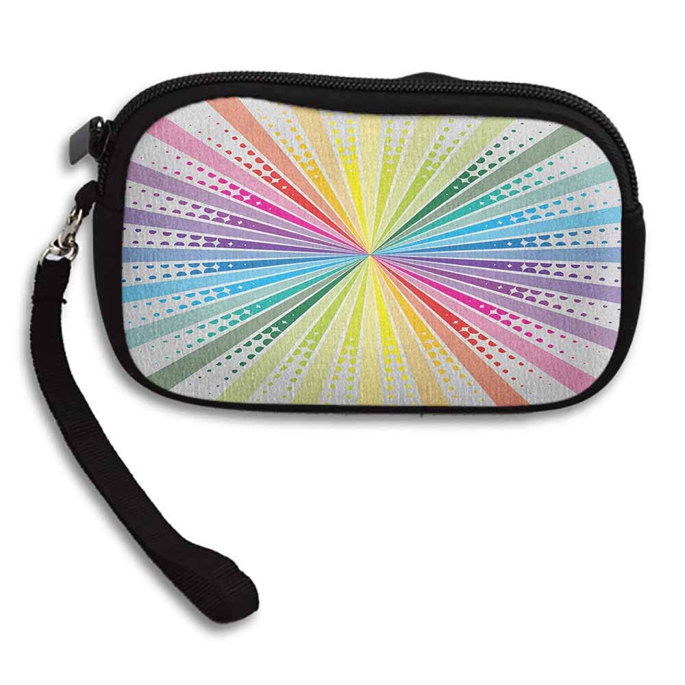 Vintage Rainbow Cute Coin Purse Retro Style Burst Effect with Halftone Details Colorful Rays Pop Sixties W 5.9x L 3.7 Girls Fashion Wallets