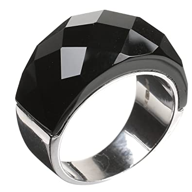 d5d8e2720 Black Crystal Glass Sterling Silver Ring SIZE M Womens Ladies Present Gift  Jewellery - Low Price