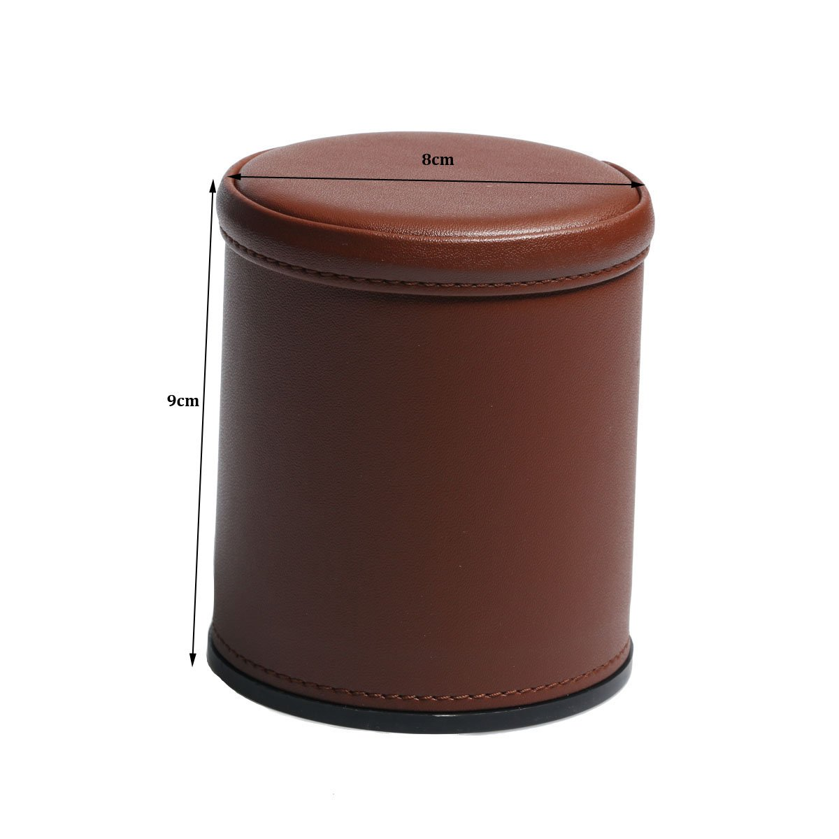 Brown Leather Dice Cup Set Felt Lining Quiet Shaker with 5 Dot Dices for Farkle Yahtzee Games,2 Pack RERIVER
