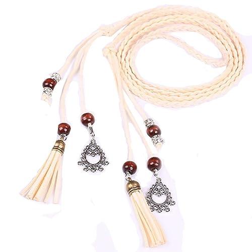 Winwintom Mujeres Moda folk Custom Borla colgante cintura cinturón trenzado (Beige)