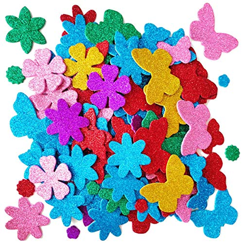 Glitter Foam Flower and Butterfly Shapes Stickers, Self-Adhesive Stickers Kid's Arts Crafts Supplies for Greeting Cards DIY Scrapbooking Cards Creative Toys Home Decoration (Random Colors)