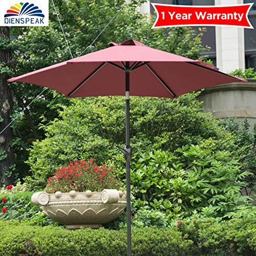 Dienspeak Deluxe 7.5' 3-Way Tilting Round Market Table Patio Umbrella Sunshade 1000 Hours Fade-Resistant Outdoor Table Umbrella with Push Button Tilt, 6 Fiberglass Ribs (Red)