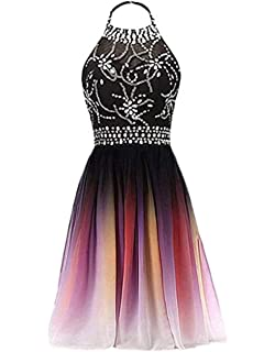 591e94e622e FWVR Ombre Short Prom Dresses for Juniors Beads Gradient Homecoming Party  Dress 2019