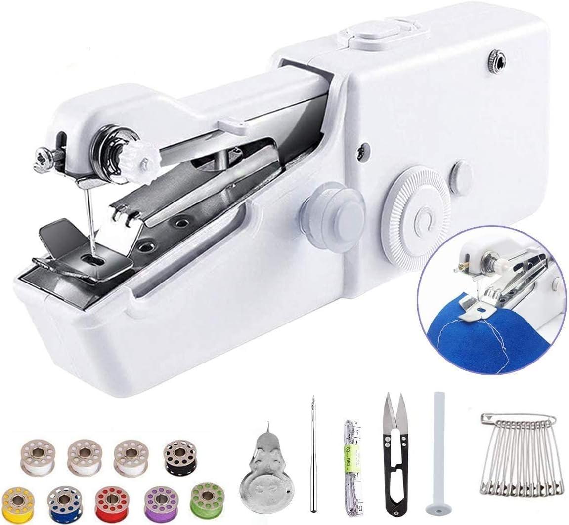 Máquina de coser de mano, mini máquina de coser portátil inalámbrica, mini máquina de coser para ropa de niños, hogar, accesorios de bricolaje (batería no incluida)… (WHITE, 25PACK)