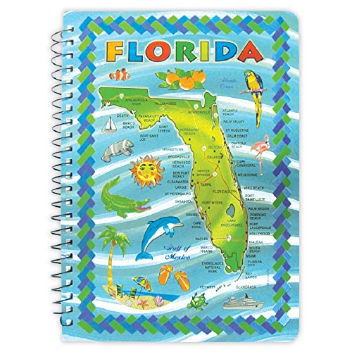 Notebook Florida Embossed Blue Map One Subject Spiral Notebook 160 Pages 6  X 8 1 2   Alb Ffl