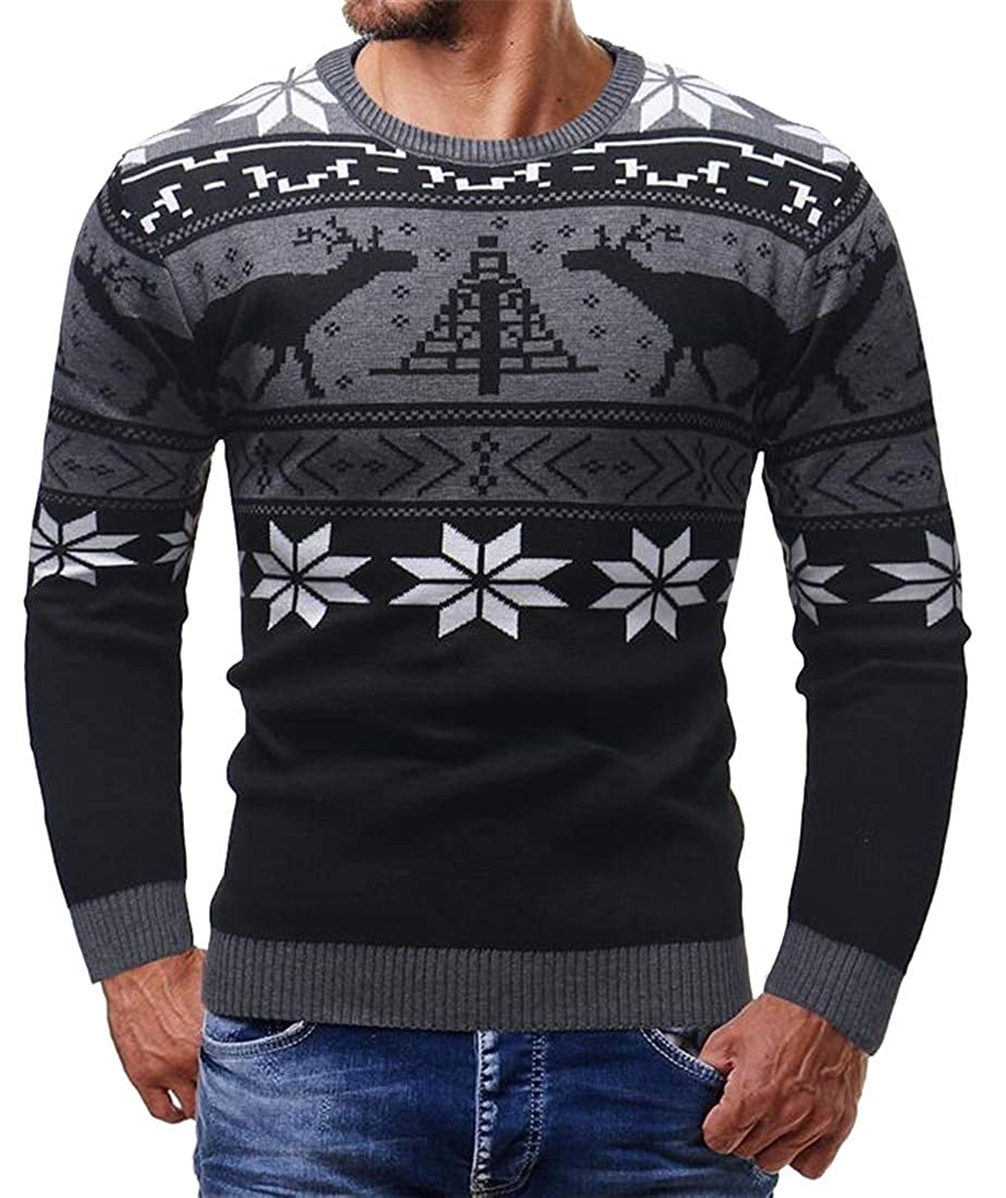 Mstyle Mens Christmas Crew Neck Plus Size Long Sleeve Thicken Pullover Sweater Jumper