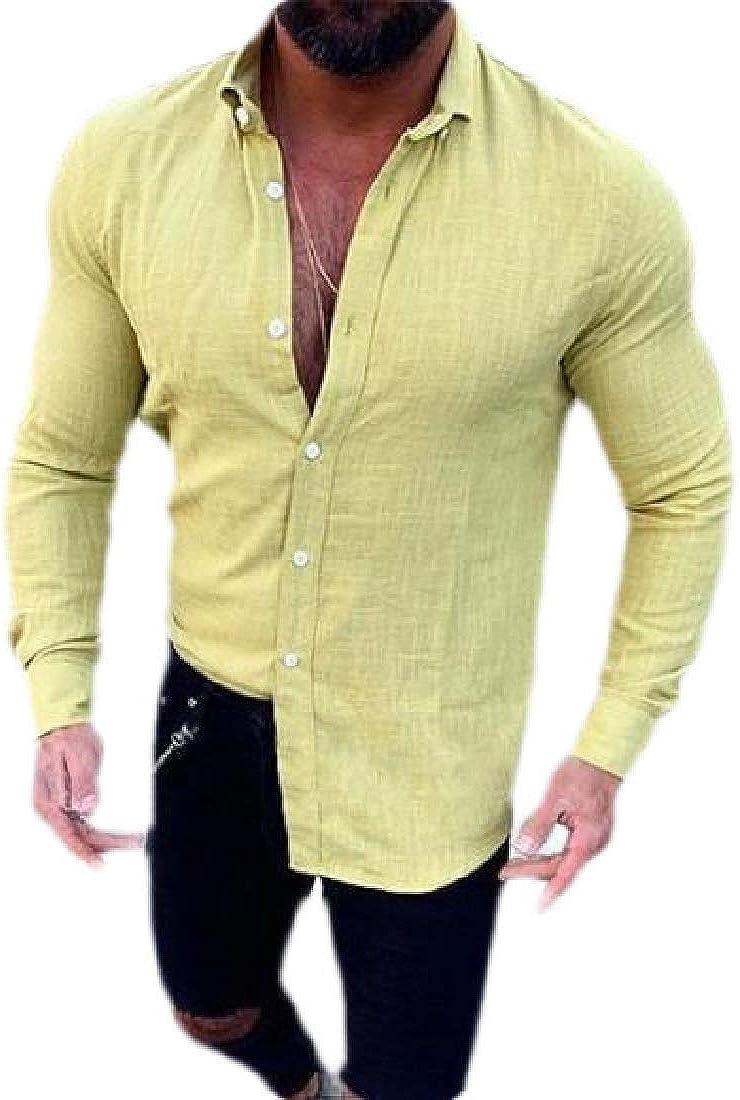 Xswsy XG Mens Long-Sleeve Shirts Linen Button Down Tees Collar Plain Summer Shirts