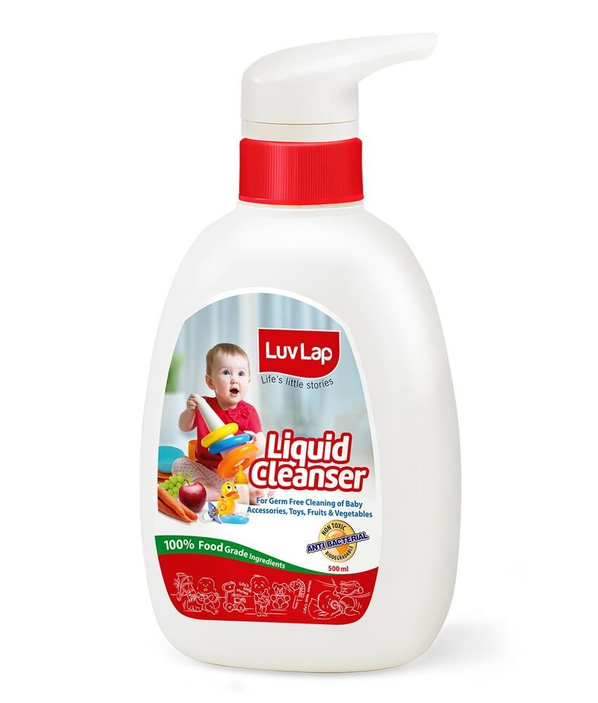 Luvlap Anti-Bacterial Baby Bottles Accessories and Vegetable Liquid Cleanser, 500ml product image