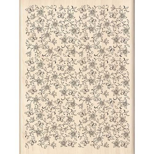 Flowers & Butterflies Background Wood Stamp | Inkadinkado - Foam Stamps Flowers