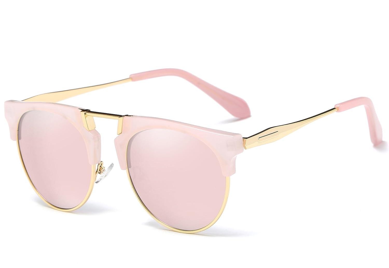 0432999932 Joopin Semi Rimless Polarized Sunglasses Women Men Retro Brand Sun Glasses  (Pink (No Case Included)