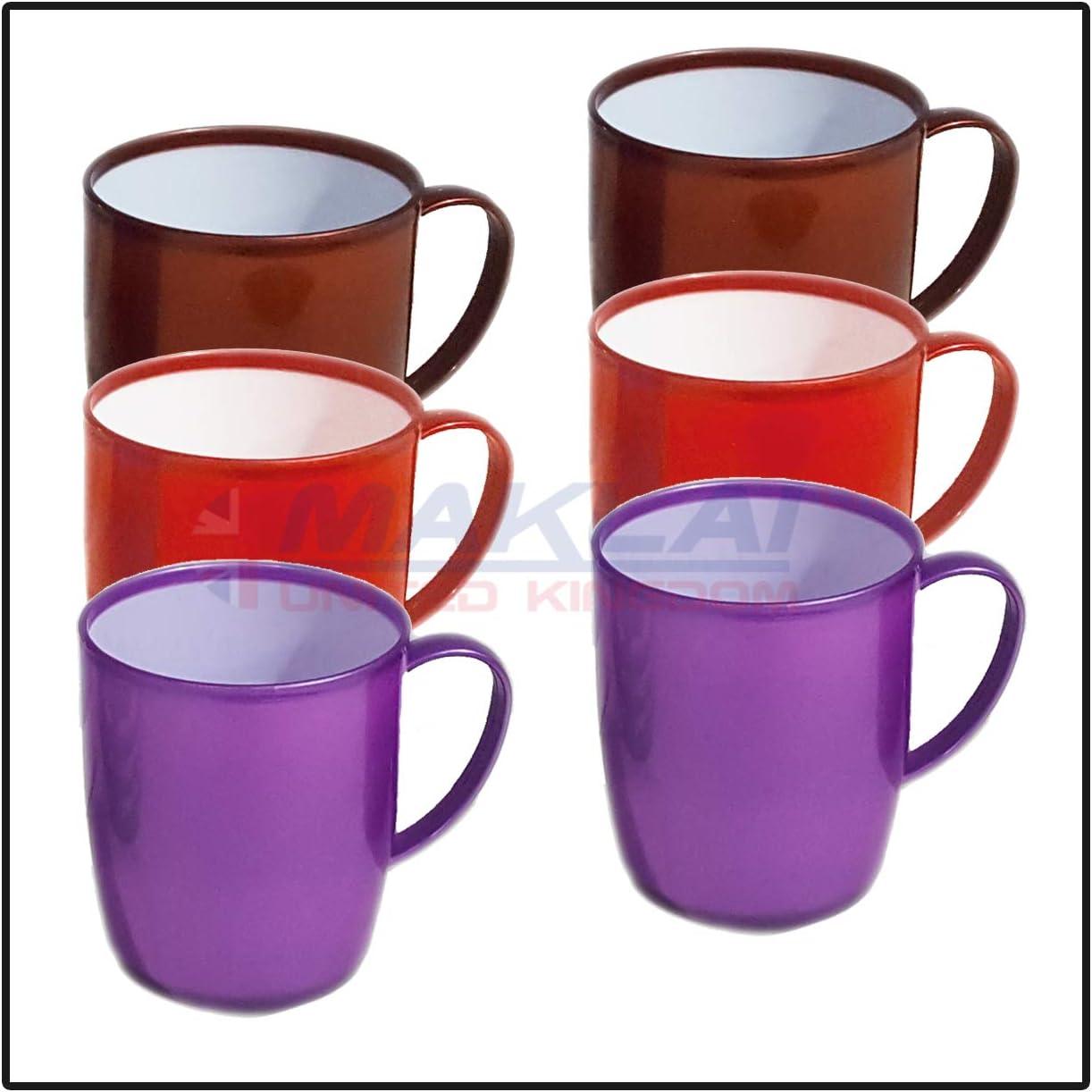 Juego de 6 tazas de plástico con asa de colores surtidos para viajes/niños DYNASTY sin BPA