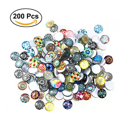 ULTNICE Glass Cabochons Mosaic Printed Glass Dome Cabochons Mosaic Tiles for Crafts 200pcs Colored Glass Tile Magnets
