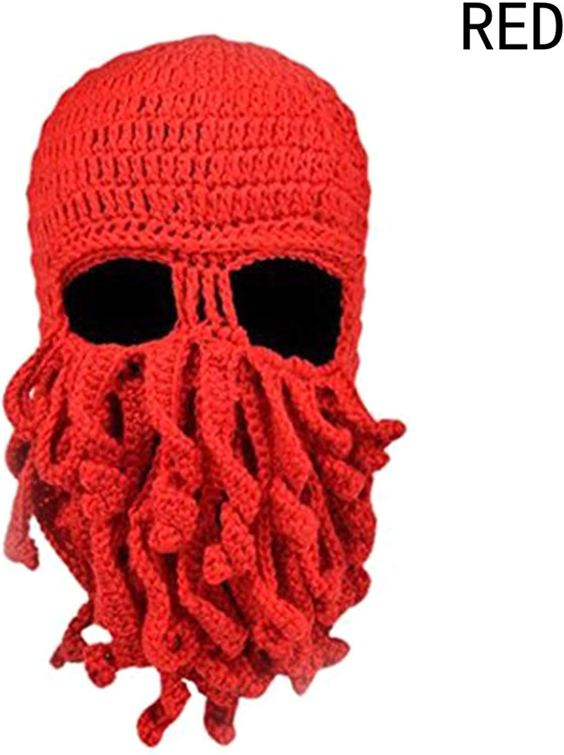 New Creative Unisex Winter Warm Knitted Wool Beanies Face Mask Hats Squid Cap Cthulhu Tentacles Beanie Hat