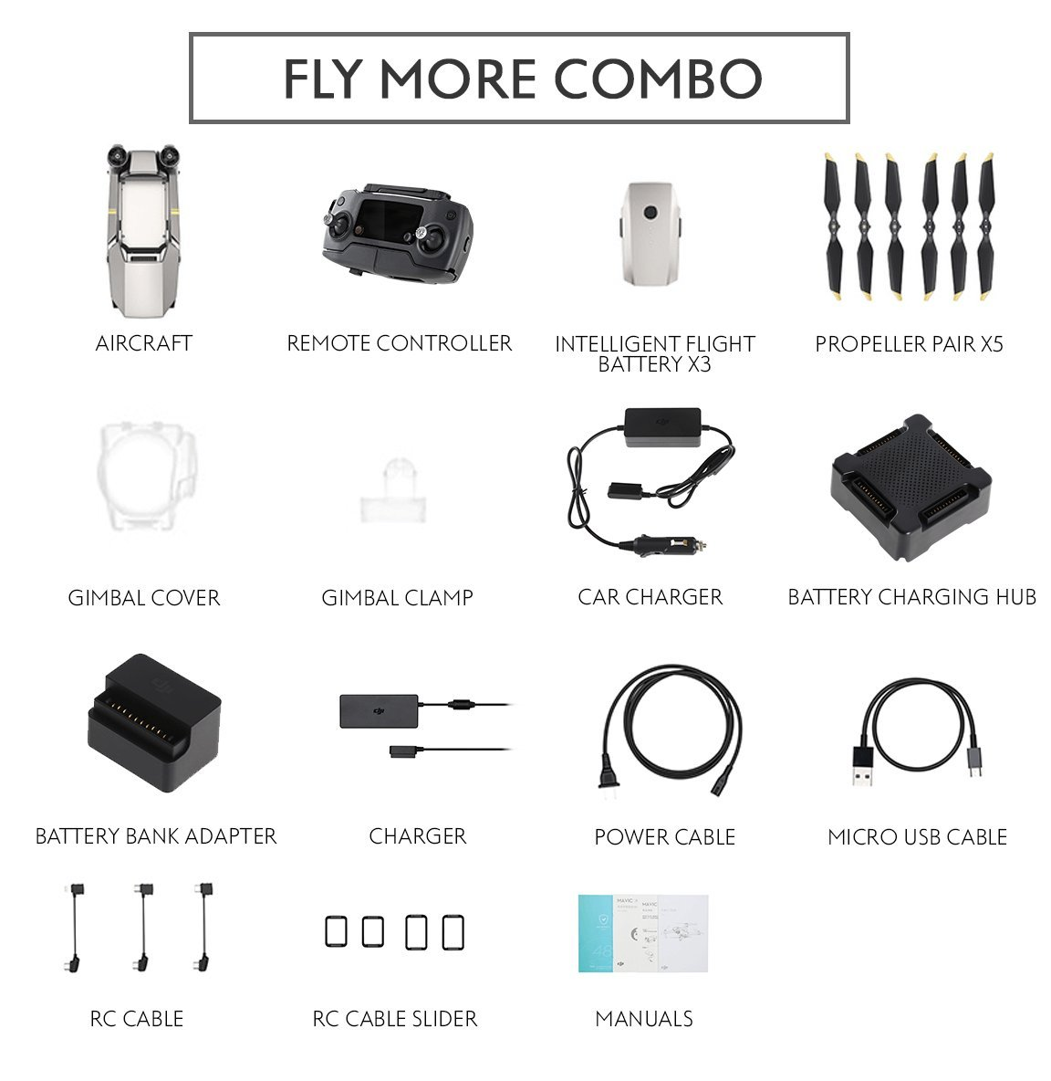 DJI Mavic Pro Platinum Fly More Combo Collapsible Quadcopter Drone Bundle (Latest Version)