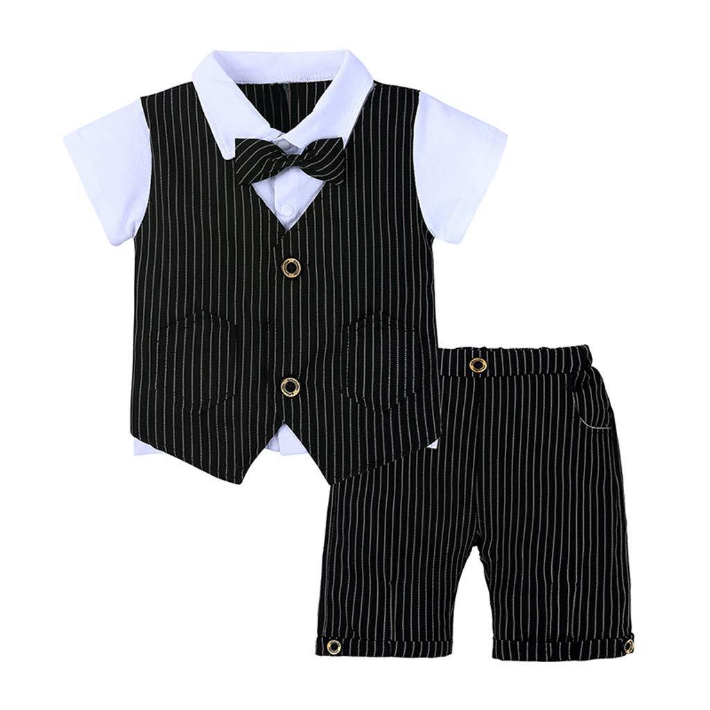 DWQuee Kleine Jungs Kleidungsset 3PC Fliege T-Shirt Karierte Weste+Shorts f/ür 0-4 T