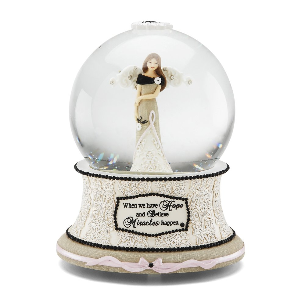 Modele Hope Musical Water Globe with Tune Wind Beneath My Wings, Reads When We Have Hope and Believe Miracles Happen, 6-Inches Tall Pavilion Gift Company 88068